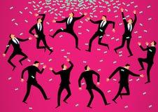 Διανυσματική έννοια απεικόνισης Πολλοί επιχειρηματίες χορεύουν ένας τελετουργικός χορός για να προσελκύσουν τα χρήματα Στοκ Εικόνα