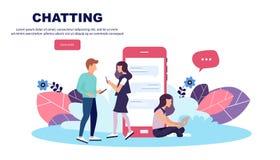 Διανυσματική έννοια απεικόνισης των κινητών apps και των υπηρεσιών Δημιουργικό επίπεδο σχέδιο για το έμβλημα Ιστού, υλικό μάρκετι ελεύθερη απεικόνιση δικαιώματος