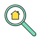 Διανυσματική έννοια εικονιδίων γραμμών αναζήτησης ιδιοκτησίας Στοκ Εικόνα