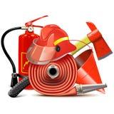 Διανυσματική έννοια εξοπλισμού πρόληψης πυρκαγιάς διανυσματική απεικόνιση