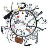 Διανυσματική έννοια εφεδρειών ποδηλάτων με τη ρόδα Στοκ Φωτογραφία