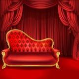 Διανυσματική έννοια θεάτρων, κόκκινος καναπές, κουρτίνες σκηνής διανυσματική απεικόνιση