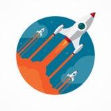 Διανυσματική έννοια ξεκινήματος με τους πετώντας πυραύλους μολυβιών ελεύθερη απεικόνιση δικαιώματος