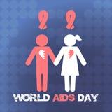 Διανυσματική έννοια στη Παγκόσμια Ημέρα κατά του AIDS Συνειδητοποίηση ενισχύσεων Διανυσματική αφίσα για την προσοχή και επικοινων Στοκ φωτογραφίες με δικαίωμα ελεύθερης χρήσης