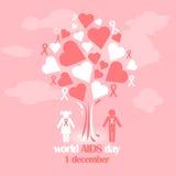Διανυσματική έννοια στη Παγκόσμια Ημέρα κατά του AIDS Συνειδητοποίηση ενισχύσεων Διανυσματική αφίσα για την προσοχή και επικοινων Στοκ εικόνες με δικαίωμα ελεύθερης χρήσης