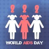 Διανυσματική έννοια στη Παγκόσμια Ημέρα κατά του AIDS Το έμβλημα των ανθρώπων που κρατούν τα χέρια, η κορδέλλα Στοκ φωτογραφία με δικαίωμα ελεύθερης χρήσης