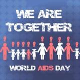 Διανυσματική έννοια στη Παγκόσμια Ημέρα κατά του AIDS Υγιείς και άρρωστοι άνθρωποι που κρατούν τα χέρια Βοηθήστε το άρρωστο πρόσω Στοκ Εικόνα