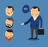 Διανυσματική έννοια συνεργατών χαιρετισμού επιχειρηματιών business businessman cmputer desk laptop meeting smiling talking to usi Στοκ Εικόνες