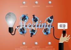 Διανυσματική έννοια σχεδίου απεικόνισης επίπεδη για τα εμβλήματα επιχειρησιακού Ιστού με το χέρι, επιχειρηματίας, βολβός Στοκ Εικόνες