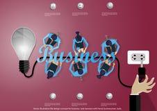 Διανυσματική έννοια σχεδίου απεικόνισης επίπεδη για τα εμβλήματα επιχειρησιακού Ιστού με το χέρι, επιχειρηματίας, βολβός Στοκ Φωτογραφία