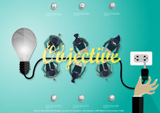 Διανυσματική έννοια σχεδίου απεικόνισης επίπεδη για τα εμβλήματα επιχειρησιακού Ιστού με το χέρι, επιχειρηματίας, βολβός Στοκ Φωτογραφίες