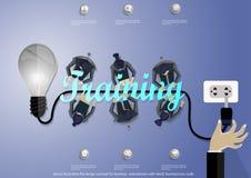 Διανυσματική έννοια σχεδίου απεικόνισης επίπεδη για τα εμβλήματα επιχειρησιακού Ιστού με το χέρι, επιχειρηματίας, βολβός Στοκ Εικόνα