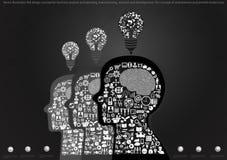 Διανυσματική έννοια σχεδίου απεικόνισης επίπεδη για την επιχειρησιακή ανάλυση και τον προγραμματισμό, το 'brainstorming', την έρε Στοκ Φωτογραφίες
