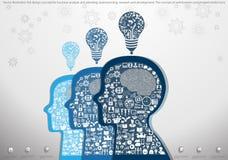 Διανυσματική έννοια σχεδίου απεικόνισης επίπεδη για την επιχειρησιακή ανάλυση και τον προγραμματισμό, το 'brainstorming', την έρε Στοκ Εικόνες