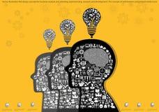 Διανυσματική έννοια σχεδίου απεικόνισης επίπεδη για την επιχειρησιακή ανάλυση και τον προγραμματισμό, το 'brainstorming', την έρε Στοκ Εικόνα
