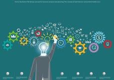Διανυσματική έννοια σχεδίου απεικόνισης επίπεδη για την επιχειρησιακή ανάλυση και τον προγραμματισμό, η έννοια των εμβλημάτων Ιστ Στοκ Εικόνες