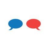 Διανυσματική έννοια της φυσαλίδας δύο ομιλίας στο μπλε και κόκκινο χρώμα στο whi Στοκ εικόνα με δικαίωμα ελεύθερης χρήσης