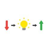 Διανυσματική έννοια του βέλους που δείχνει κάτω με τη λάμπα φωτός symbolizin Στοκ Εικόνα