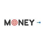 Διανυσματική έννοια του κειμένου χρημάτων με το μάτι ταύρων και του βέλους στα άσπρα WI Στοκ Εικόνες