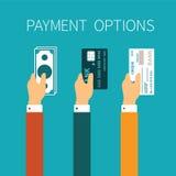 Διανυσματική έννοια των επιλογών πληρωμής στο επίπεδο ύφος ελεύθερη απεικόνιση δικαιώματος