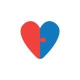 Διανυσματική έννοια δύο κομματιών διαμορφωμένου του καρδιά εικονιδίου γρίφων στο μόριο Στοκ εικόνες με δικαίωμα ελεύθερης χρήσης