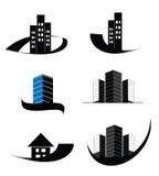 Διανυσματική ακίνητη περιουσία, κατασκευή, σπίτι, σύνολο λογότυπων οικοδόμησης Στοκ Εικόνες