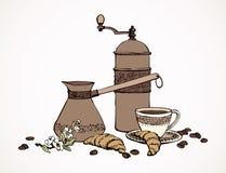 Διανυσματική ακόμα ζωή του αρωματικού καφέ απεικόνιση αποθεμάτων