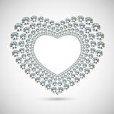 Διανυσματική λαμπρή καρδιά διαμαντιών στο άσπρο υπόβαθρο Στοκ εικόνα με δικαίωμα ελεύθερης χρήσης