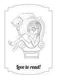 Διανυσματική ανάγνωση κοριτσιών χρωματισμού σε μια πολυθρόνα Στοκ εικόνες με δικαίωμα ελεύθερης χρήσης