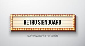 Διανυσματική αναδρομική πινακίδα ή lightbox απεικόνιση με το εξατομικεύσιμο σχέδιο στο καθαρό υπόβαθρο Ελαφρύς έμβλημα ή τρύγος διανυσματική απεικόνιση