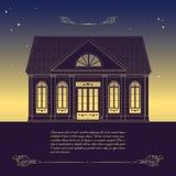 Διανυσματική αναδρομική απεικόνιση με το παλαιό σπίτι, floral διακοσμητικό elem Στοκ Εικόνες