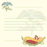Διανυσματική αναδρομική κάρτα με τη νύμφη και το πουλί διανυσματική απεικόνιση