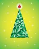 Διανυσματική αναδρομική κάρτα με το αφηρημένο πράσινο χριστουγεννιάτικο δέντρο Στοκ Φωτογραφία
