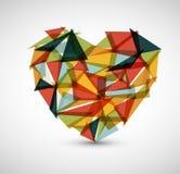 Διανυσματική αναδρομική καρδιά που γίνεται από τα τρίγωνα χρώματος διανυσματική απεικόνιση