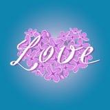 Διανυσματική ανθίζοντας ιώδης καρδιά με το ρομαντικό κείμενο αγάπης στο μπλε υπόβαθρο κλίσης Στοκ Φωτογραφία