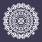 Διανυσματική δαντέλλα γύρω από τη διακόσμηση Ινδικό διακοσμητικό mandala Μίμηση του σχεδίου ραπτικής ελεύθερη απεικόνιση δικαιώματος