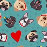 Διανυσματική απεικόνιση, άνευ ραφής σχέδιο του αστείου κεφαλιού των καθαρής φυλής σκυλιών διανυσματική απεικόνιση