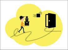 Διανυσματική απεικόνιση, ένα επίπεδο ύφος Καταστήματα Διαδικτύου, παράδοση στην πόρτα Χαρακτήρας των υπαλλήλων της διάφορης παράδ Ελεύθερη απεικόνιση δικαιώματος