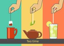 Διανυσματική απεικόνιση έννοιας παράδοσης τσαγιού Το χέρι που προετοιμάζεται από τις τσάντες, πράσινες, πάγος Στοκ εικόνες με δικαίωμα ελεύθερης χρήσης