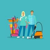 Διανυσματική απεικόνιση έννοιας υπηρεσιών σπιτιών καθαρίζοντας στο επίπεδο ύφος Στοκ Εικόνα