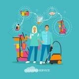 Διανυσματική απεικόνιση έννοιας υπηρεσιών σπιτιών καθαρίζοντας στο επίπεδο ύφος Στοκ εικόνα με δικαίωμα ελεύθερης χρήσης