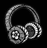 Διανυσματική απεικόνιση ακουστικών ύφους Doodle με τις μουσικές νότες, σχέδιο χεριών ελεύθερη απεικόνιση δικαιώματος
