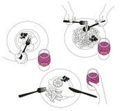 Διανυσματική απεικόνιση από τους ανθρώπους που τρώνε και που πίνουν Ελεύθερη απεικόνιση δικαιώματος