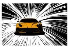 Διανυσματική απεικόνιση αυτοκινήτων ταχύτητας έξοχη στο δρόμο απεικόνιση αποθεμάτων