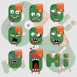 Διανυσματική απεικόνιση αυτοκόλλητων ετικεττών προσώπου Zombie Στοκ Φωτογραφία