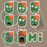 Διανυσματική απεικόνιση αυτοκόλλητων ετικεττών προσώπου Zombie απεικόνιση αποθεμάτων