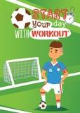 Διανυσματική απεικόνιση αφισών ποδοσφαιριστών Υγιής έννοια τρόπου ζωής και αθλητισμού Αρχίστε την ημέρα σας με το workout sportsm διανυσματική απεικόνιση
