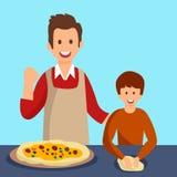 Διανυσματική απεικόνιση γευμάτων πατέρων και γιων μαγειρεύοντας ελεύθερη απεικόνιση δικαιώματος