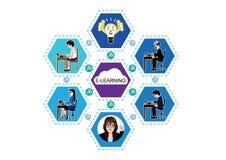 Διανυσματική απεικόνιση για την ε-εκμάθηση και σε απευθείας σύνδεση εκπαίδευση Στοκ Εικόνα