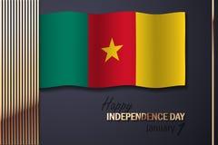 Διανυσματική απεικόνιση για τη ημέρα της ανεξαρτησίας του Καμερούν απεικόνιση αποθεμάτων